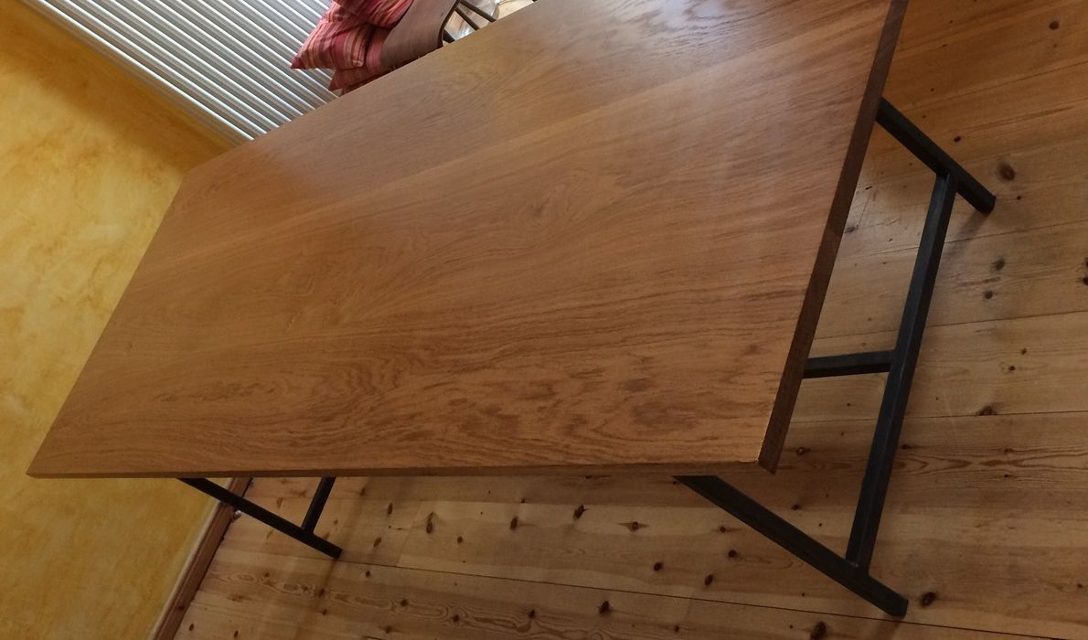 Werkstatt Tisch gebaut Eiche